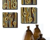 Studio SALE. Pure & Simple   set of 4 original abstract artwork. light blue, chocolate brown, burnt sienna, cream, tan, mustard