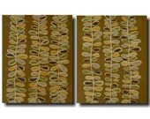 Studio Sale. Meandering Vines. Warm earthtones. original abrstact paintings. SALE. set of 2. 16 X 20 each. canvas, originals