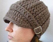 Womens Hat Taupe Womens Beanie Womens Cap Crochet Winter Hat Trendy Knit Hat Visor Hat Visor Beanie Buckle Light Brown Hat Brown Beanie