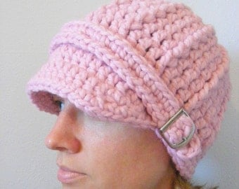Womens Hat Womens Beanie Womens Cap Pink Crochet Hat Knit Buckle Beanie Winter Hat Pink Hat Light Pink Hat Pastel Pink Hat Pink Blossom
