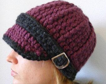 Purple Womens Hat Purple Plum Charcoal Gray Womans Hat Crochet Hat Knit like Buckle Beanie Womens Beanie Adult Beanie Adult Hat Winter Hat