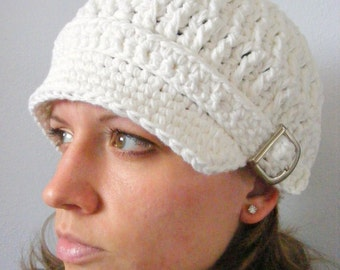 White Newsboy Cap Womens Newsboy Hat Womens Hat White Hat Silver Buckle Newsboy Trendy Winter Hat Stylish Cap Crochet Newsboy Knit like