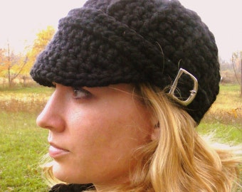 Womens Hat Womens Cap Womens Black Hat Womens Black Cap with Buckle Chunky Crochet Winter Hat Knit like Trendy Visor Beanie Warm Visor Hat