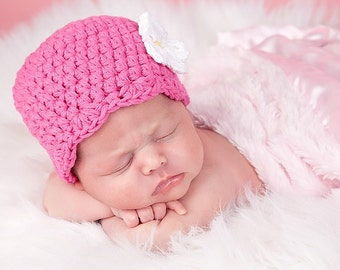 Baby Girl Hat 0 to 3 Month Hot Pink Baby Hat Baby Girl Clothes Baby Girl Beanie Baby Girl Cap Baby Girl Gift Crochet Flower Hat Flapper