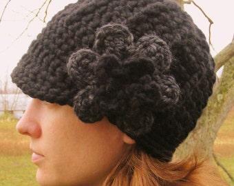 Womans Hat Black Flower Hat Charcoal Gray Flower Hat Charcoal Flower Hat Black Hat Charcoal Hat Gray Hat Crochet Hat Knit like Flower Beanie