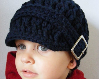 Toddler Boy Hat 1T to 2T Navy Blue Toddler Hat Toddler Boy Clothes Crochet Winter Hat Silver Buckle Dark Blue Toddler Hat Navy Toddler Hat