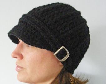 Womens Black Hat Womens Hat Crochet Winter Hat Trendy Knit Winter Beanie Buckle Beanie Black Womens Beanie Black Beanie Mens Hat Adult Hat