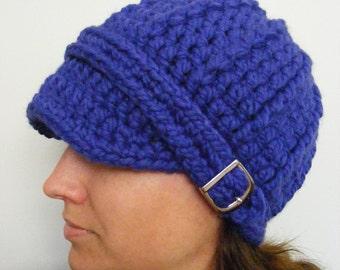 Cobalt Blue Womens Hat Cobalt Womens Hat Blue Hat Cobalt Hat Blue Cobalt Beanie Blue Beanie Cobalt Cap Blue Cap Silver Buckle Crochet Hat