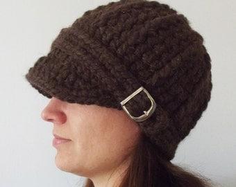Womens Hat Womens Beanie Womens Cap Dark Brown Wood Brown Hat Brown Beanie Brown Cap Buckle Beanie Winter Hat Crochet Hat Knit like Trendy