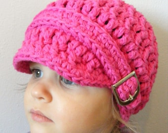 Toddler Girl Hat 1T to 2T Hot Pink Toddler Hat Toddler Girl Clothes Crochet Hat Knit like Silver Buckle Beanie Toddler Beanie Toddler Cap