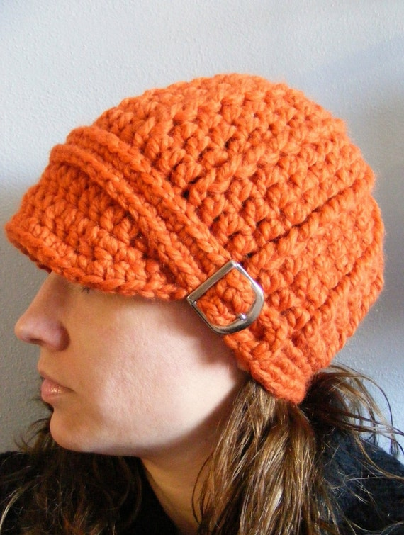 Womens Hat Orange Womens Hat Pumpkin Womens Hat Orange Pumpkin Fall Hat Autumn Hat Fall Accessory Autumn Accessory Crochet Hat Knit Beanie