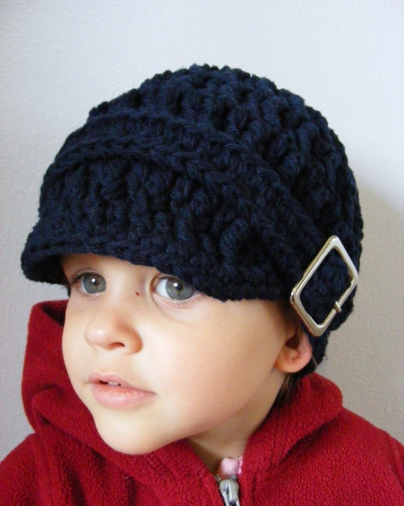 Baby Boy Hat Navy Blue Baby Hat Navy Blue Boy Hat Navy Blue Toddler Hat 9 to 12 Month Hat for Babies Toddler Boys Square Buckle Beanie