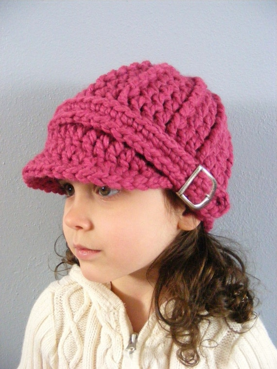 Toddler Girl Hat 2T to 4T Raspberry Pink Toddler Hat Toddler Girl Clothes Toddler Girl Clothing Crochet Hat Knit Buckle Beanie Winter Hat