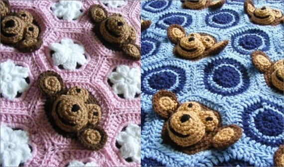 Two Crochet Email PDF PATTERNS - Baby Girl AND Baby Boy Feel and Learn Monkey Blankets or Stroller Blankies