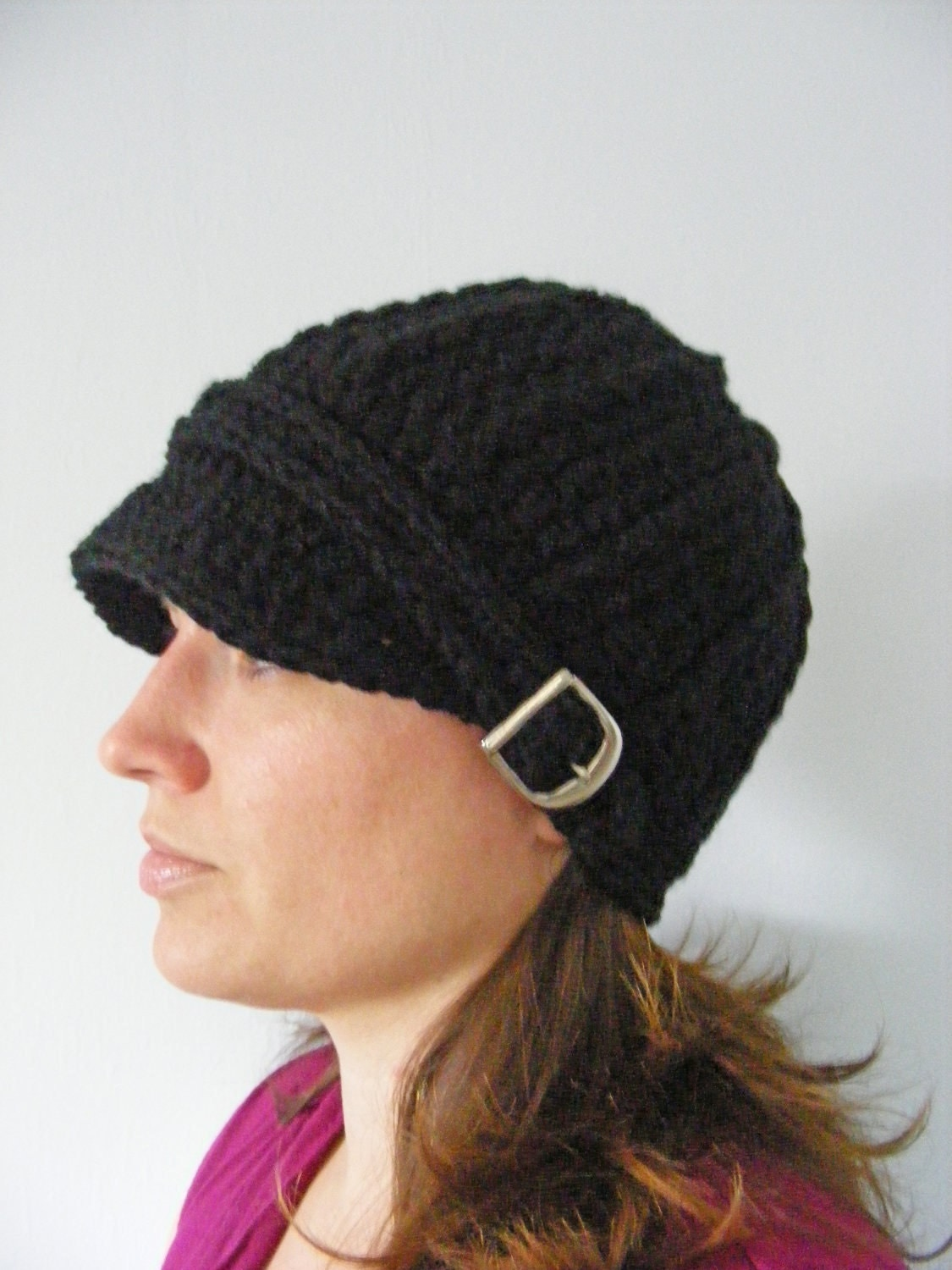 womens black hat womens hat crochet winter hat trendy knit