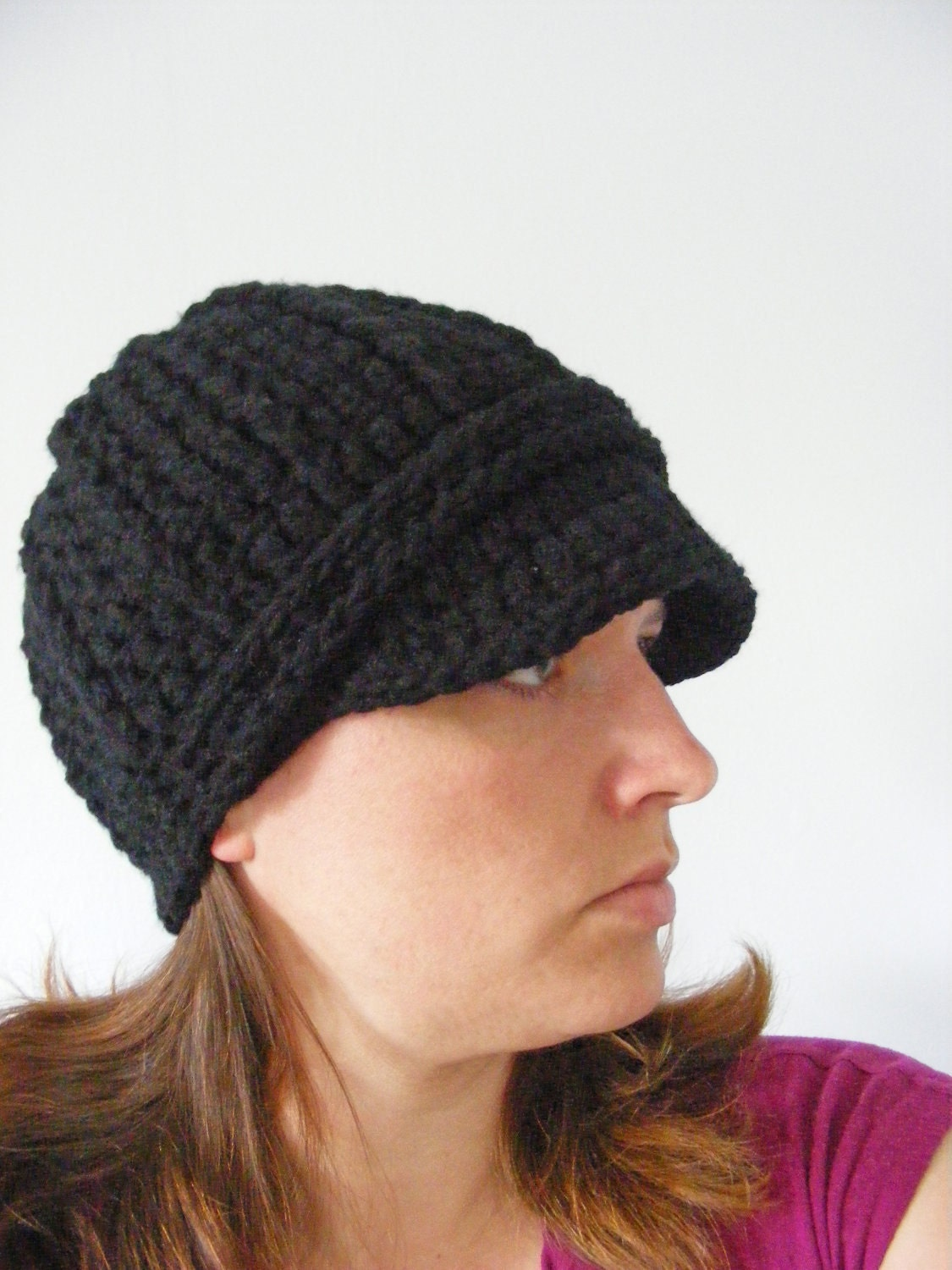womens black hat womens hat crochet winter hat by