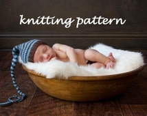Long Tail Pixie Baby Hat Knitting Pattern in 3 Sizes, PDF Number 109, INSTANT DOWNLOAD -- Permission to Sell -- Over 35,000 patterns sold