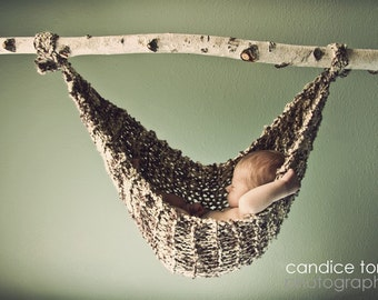 "Hand Knit Baby Hammock Newborn Photo Prop, ""Birch"" - More colors available - Over 1,000 Hammocks Sold - Original Designer - Ready to Ship"