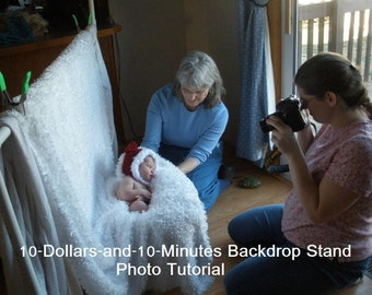10-Dollars-and-10-Minutes Backdrop Stand Photo Tutorial -- Make a Sturdy PVC Rack for Newborn Photo Shoots -- INSTANT DOWNLOAD