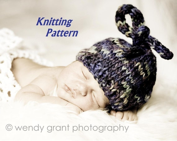 Baby Knot Hat Knitting Pattern : KNITTING PATTERN Number 105 Newborn Top Knot Hat Great by 4aSong