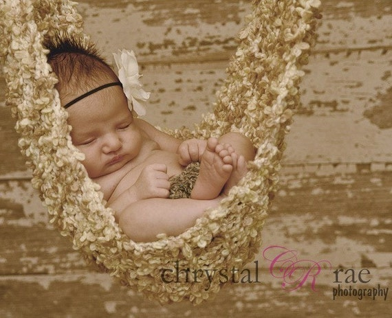 Textured Tan and Cream Baby Hammock Photo Prop -- PLEASE ALLOW TWO WEEKS