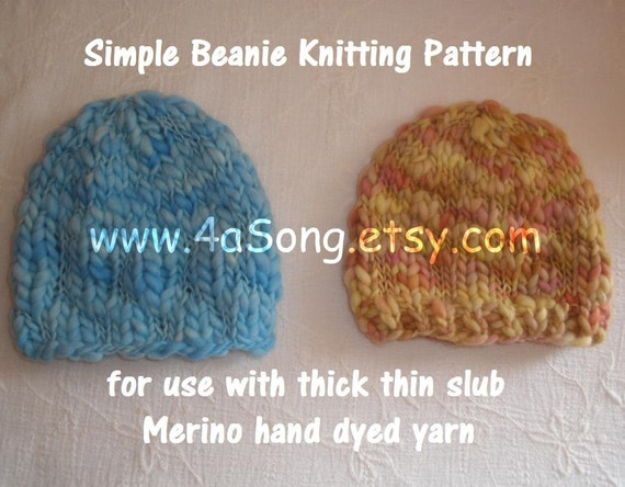 Knitting Patterns For Thin Yarn : Beanie Knitting Pattern PDF 301 for Thick Thin Hand Dyed ...