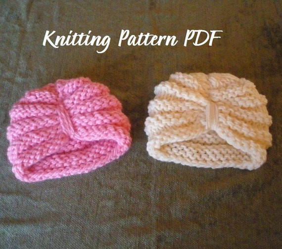 Knitting Pattern For Baby Turban : Purl Ridge Baby Turban Hat Knitting Pattern PDF 118, INSTANT DOWNLOAD -- Perm...