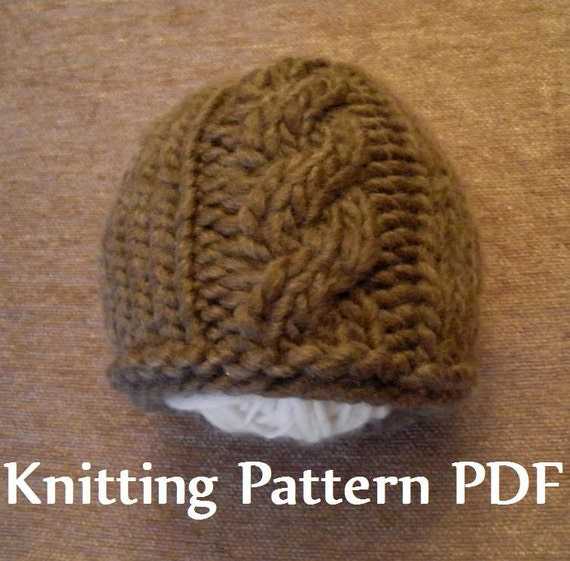 Knitting Ideas To Sell : Cable front chunky newborn baby beanie knitting pattern