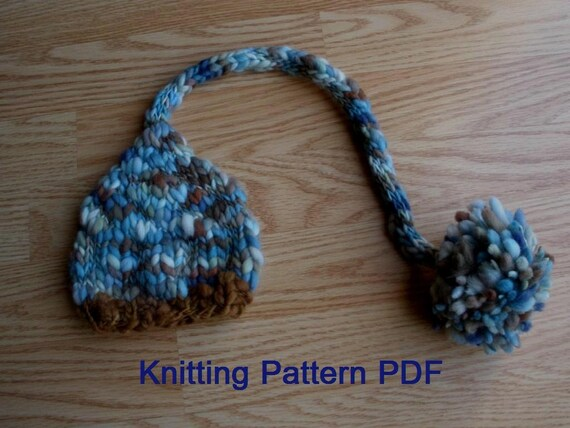 Long Tail Baby Hat Knitting Pattern, PDF Number 302, INSTANT DOWNLOAD -- for Thick Thin Yarn -- Over 16,000 patterns sold