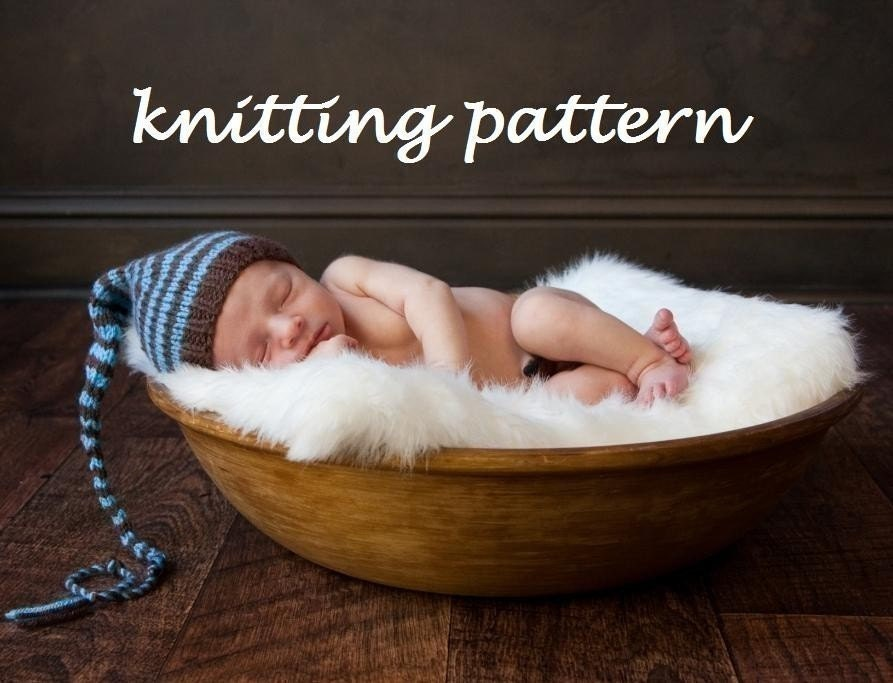Knitting Pattern For Hat With Long Tail : Long Tail Pixie Baby Hat Knitting Pattern in 3 Sizes PDF