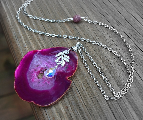 Fuschia Pink Geode Antiqued Silver Necklace