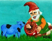 Cow Art Blue Gnome Mushroom Miniature Original acrylic painting folk art framed Gnome - RisingStarArt