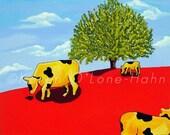 Cow Art, Children's Art Print,tree, red, clouds, yellow, Folk Art, Signed,animals,