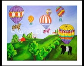 Cow Art Hot Air Balloons Farm Friends Folk Art Childrens Art Nursery  Print Matted 11x14 - RisingStarArt