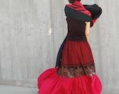 Frida - dual fabric maxi skirt(Q1032)