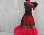For Ma..y only - Frida - dual fabric maxi skirt(Q1032)
