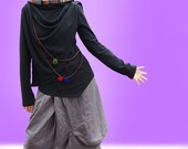 Song of Wanderer asymmetrical cotton hoodie (Y1025)