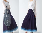 Chinese ink and wash hand painting skirt blue version (Q1208)