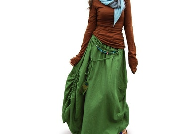 Peacock - cotton linen maxi skirt / green maxi skirt / peacock feather necklace skirt (Q1028)