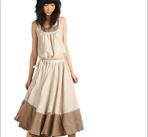 LESS IS MORE sleeveless long dress in beige/tan (Q1021)