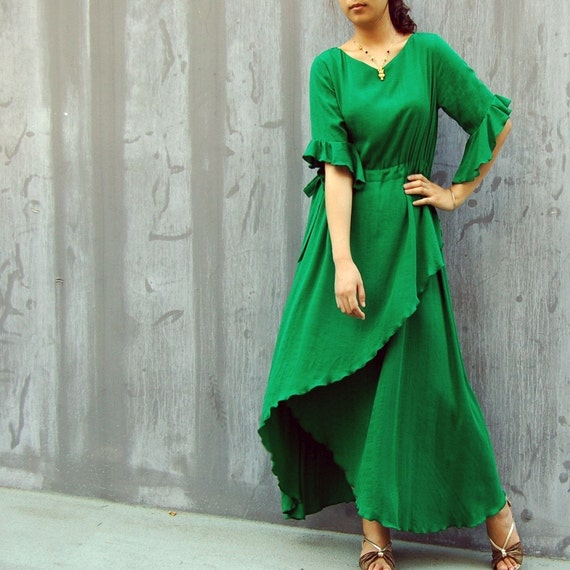 Jade Iris - asymmetrical artist maxi dress (Q1031)