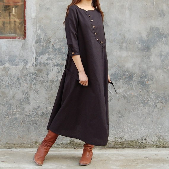 Answer is in the air LINEN DRESS (Q1102)