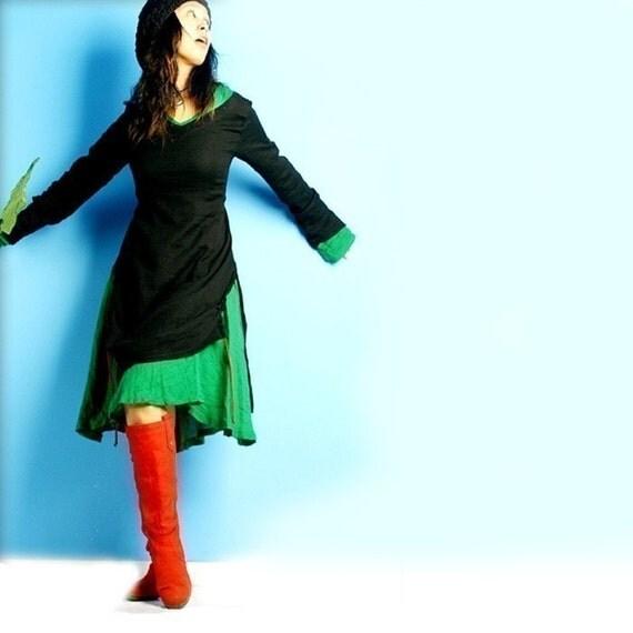 Blue Lotus 2-in-1 dress set (Q1007)