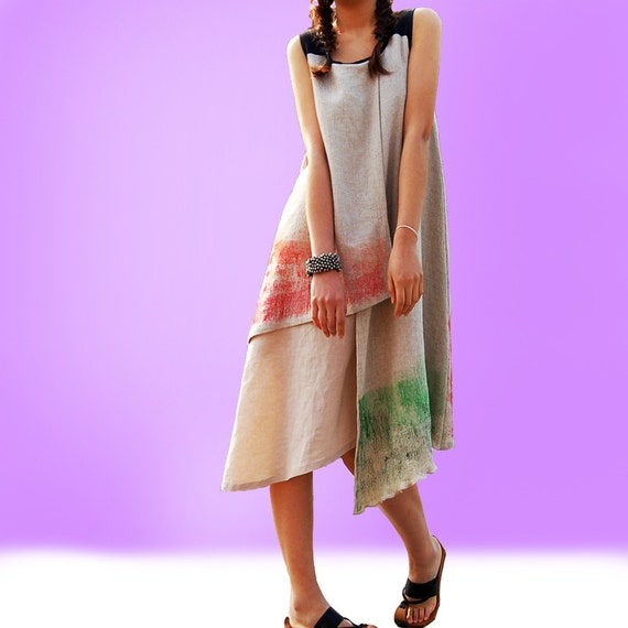 A spoiled child 2 - tiered sleeveless dress (beige) Q1006b