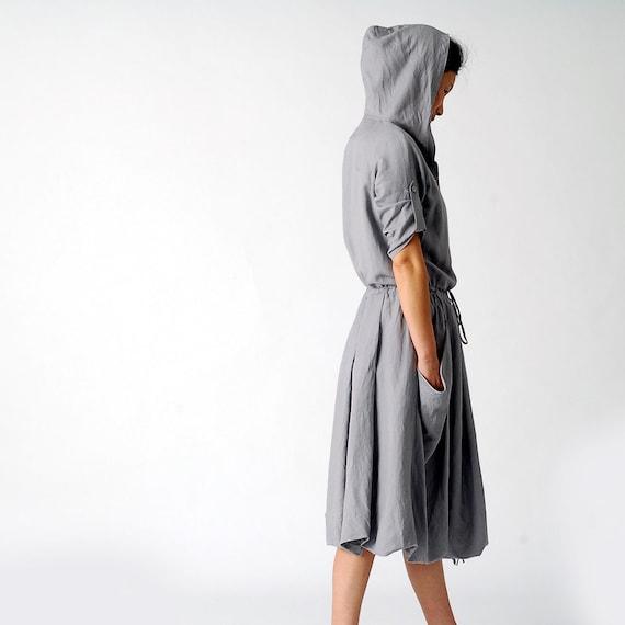 Mona Lisa Smile - linen hoodie dress(Q1111)