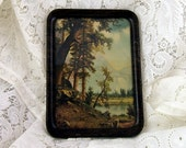 Lovely Lake and Forest Scene in Deluxe Faux Bois Metal Frame