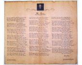 Reproduction Document Collage Sheet - The Raven by Edgar Allan Poe in his own Hand on Faux Parchment