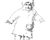 Little Willie Schempp  (My Dad - 1 year old in 1918) - Vintage Baby Picture - Rubber Stamp (E2397)