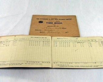 Vintage P and  LE Railroad Time Book from the Early 20th Century