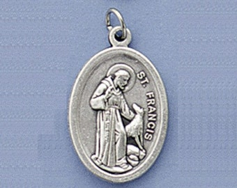 Saint Francis of Assisi and the Wolf Medal or Charm - Package of 3